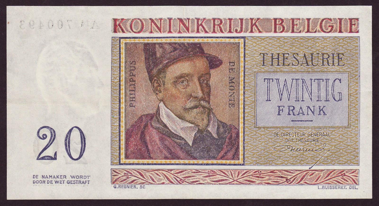 Belgium Banknotes 20 Francs Treasury Note 1956 Philippus de Monte