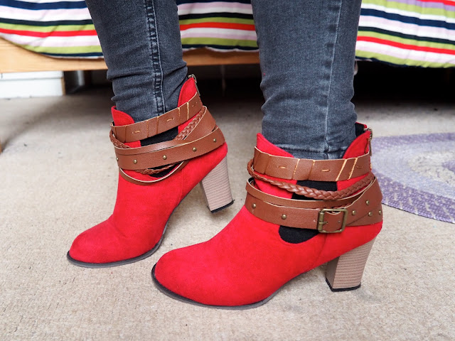 Ruby Red - outfit shoe details red suede high heeled ankle boots with brown leather straps