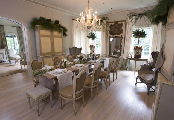 image result for beautiful French farmhouse Swedish country dining room by Pam Pierce decorated for Christmas