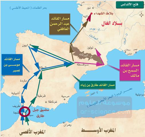 استعين بالخارطة ثم ارسم خطا يمثل سير الجيوش الاسلامية لفتح الاندلس