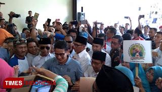 Calon Wakil Presiden (Cawapres) nomor urut 02 Sandiaga Salahuddin Uno