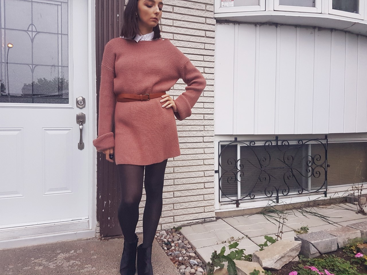 fashion, ootd, blush, beauty, makeup, smokey eye, Tobi, HM, sweater dress, fall style, fall fashion, on trend,