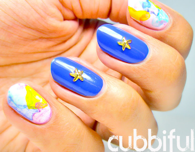Starfish Studs and Watercolour Nails
