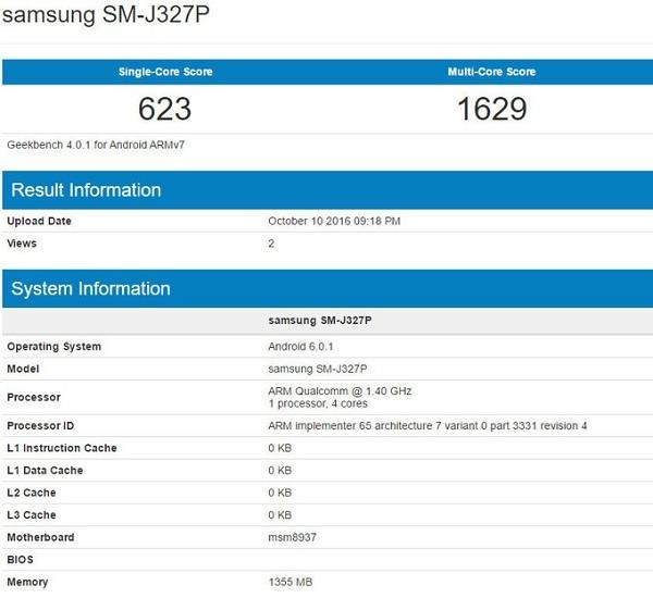 Galaxy J7 lộ cấu hình trên Geekbench