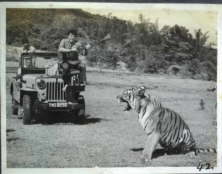 Dharmendra with a Tiger