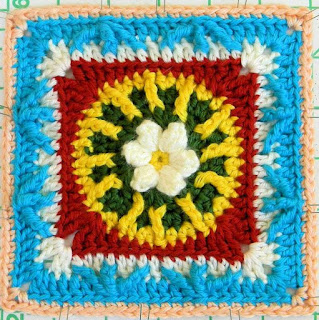 Free Granny Square Crochet Pattern - Flower & Trebles 6""