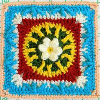 "Free Granny Square Crochet Pattern - Flower & Trebles 6"""