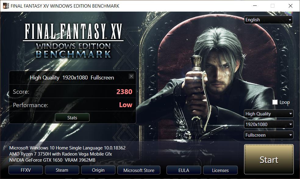 Benchmarking ASUS TUF Gaming FX505D dengan Final Fantasy XV dengan kualitas High tanpa charging