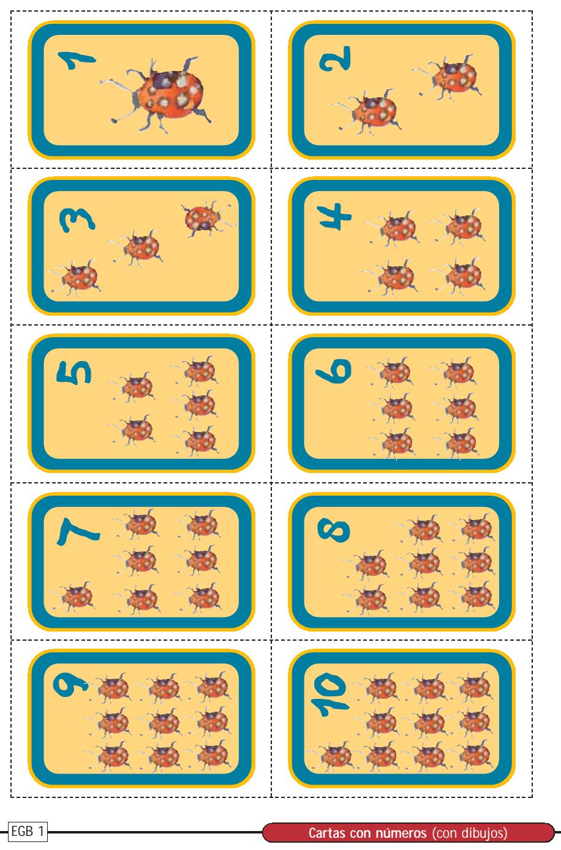 Cartas con imagen y número para imprimir