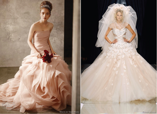 Wedding trends blush wedding dresses belle the magazine for those brides looking to have a timeless look with a classy yet unexpected touch blush wedding dresses are a nice option take a look at this collection junglespirit Choice Image