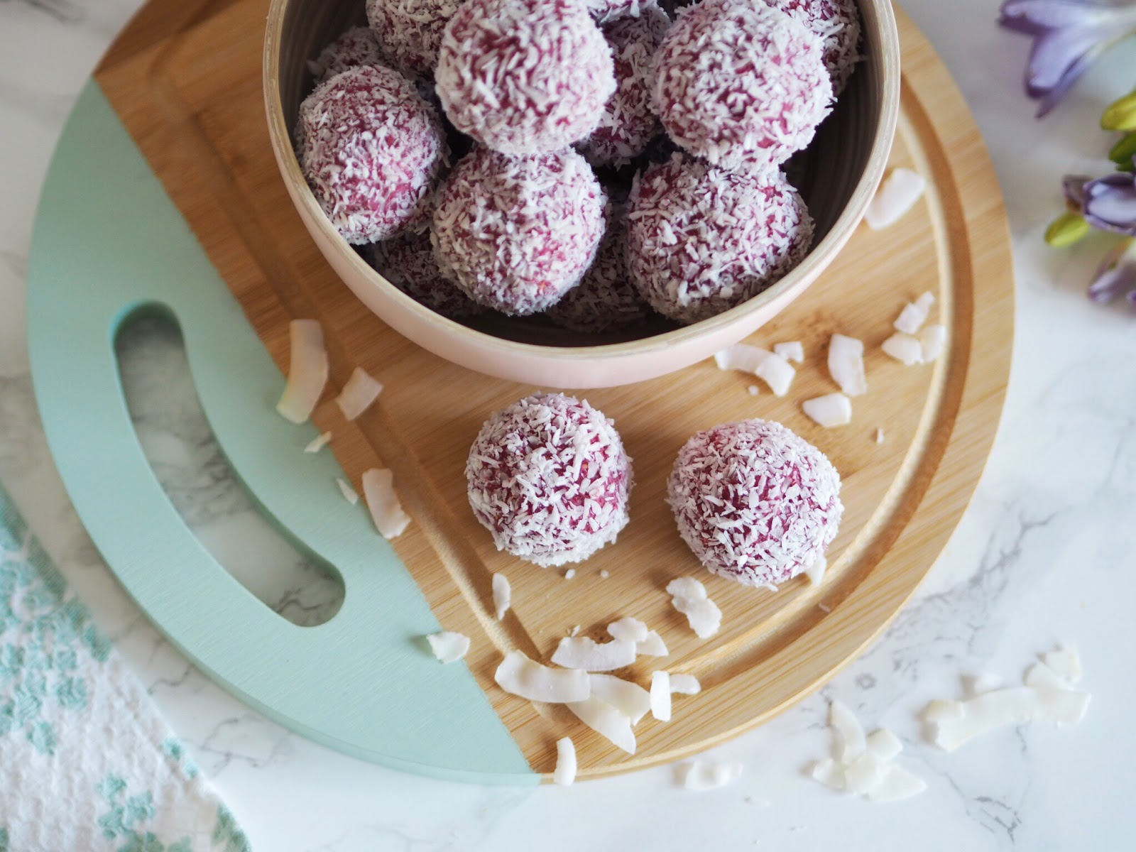 Raspberry and Coconut Pink Protein Energy Balls With Shredded Coconut