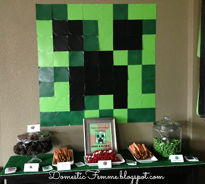 Minecraft Birthday Party Table Display #Parties #Birthdays #DIY #Character #Characters #Supplies #Idea #Ideas #TNT #Twizzlers #Torches #Chocolate #Dipped #Pretzel #Pretzels #Rods #Rods #Dirt #Brownie #Brownies #Coal #Rice #Krispies #Treats #Krispie #Crispie #Crispies #Zombie #Zombies #Boogers #Booger #Popcorn #Corn #Candy #Stickers #Enderman #Steve #Creeper #Printables #Printable #Cake #Instruction #Instructions #Instuctable #Instructables #Tutorials #Ghost #Squidoo #Invitation #Invitations #Meme #Decoration #Decorations #Paper #Plates #Face