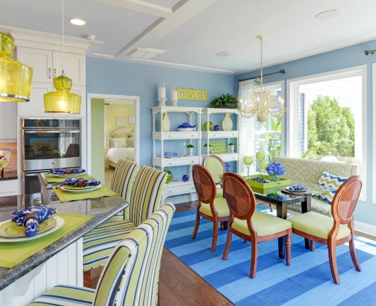Coastal Blue and Green Kitchen and Dining Room