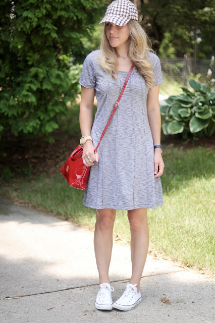 Aventura mallory dress, Converse, red Dooney & Bourke bag, baseball cap,