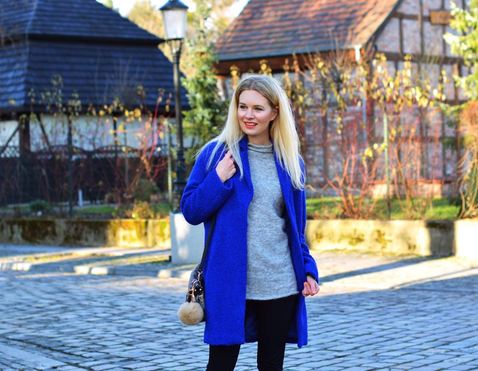 kobalt, kobaltowy, płaszczyk, blondynka, blog, blogerka, poznań