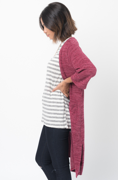 Shop for 3/4 Sleeves Burgundy Front Pockets Maxi Cardigan Online - $30 - on caralase.com
