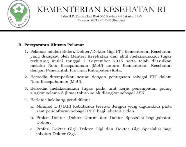persyaratan khusus pelamar untuk Bidan dan Dokter