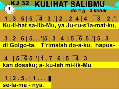 Lirik dan Not Kidung Jemaat 32 Kulihat SalibMu