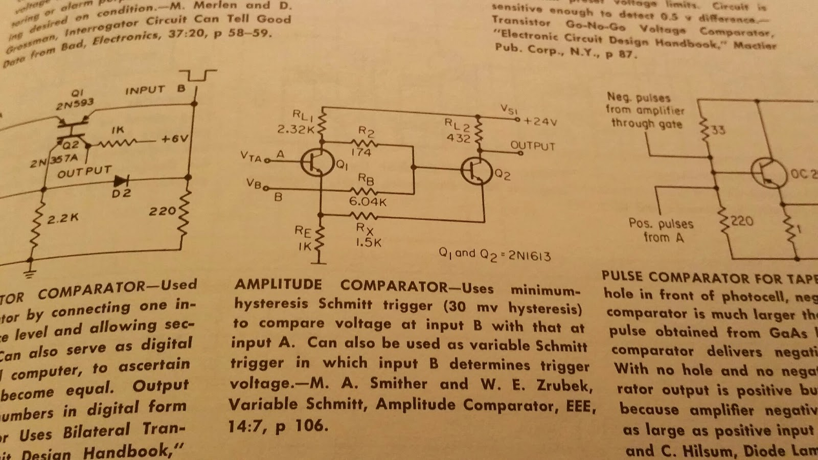Scrs Neon Lamps Transistor Schmitt Triggers Sams Electrical Journal Using The Lm741 Construct Openloop Comparator Circuit Shown Be Books Calls This A Minimum Hysteresis Trigger Meaning Its Which Has Two Threshold Voltages One For Going Up