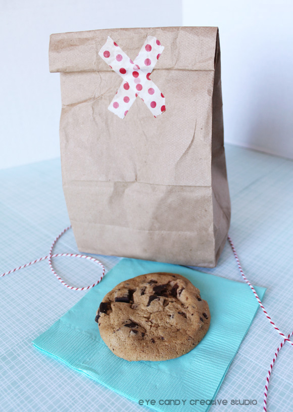 cookies, chocolate chip, sam's club cafe, brown bag, washi tape