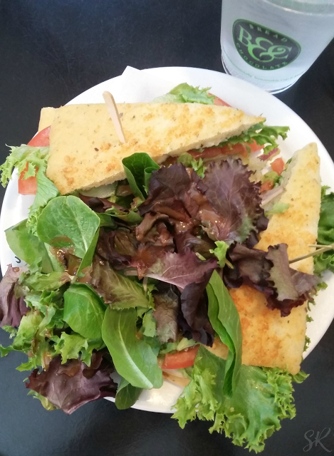 sandwich and salad at Cafe Latte