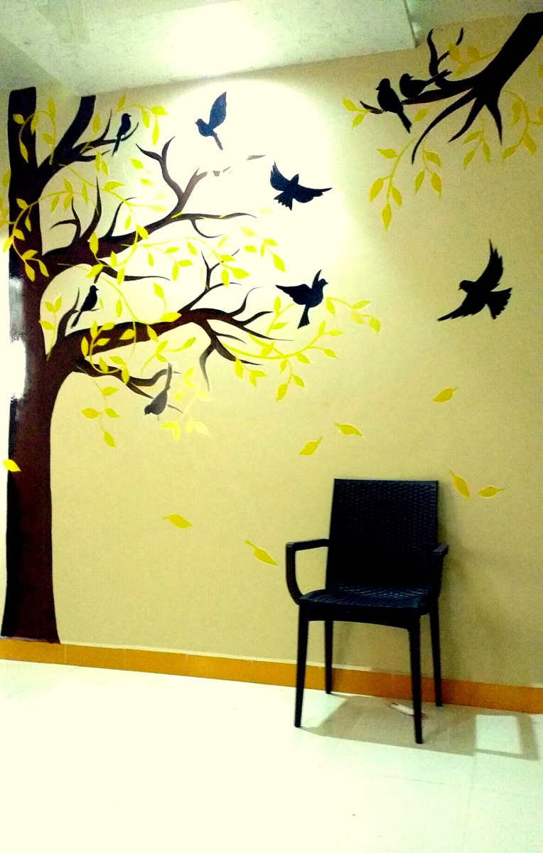 Tree And Birds Wall Painting Paintingpalette28