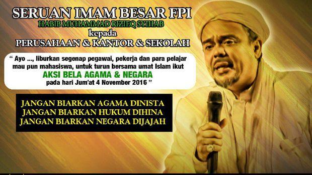 Habib Rizieq Minta Sekolah dan Kantor Libur Tanggal 4 November, Ini Kata Polri...