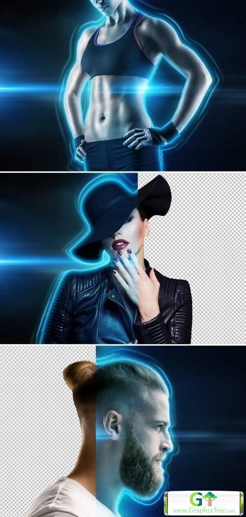 Glowing Portrait Photo Effect Mockup 372765296