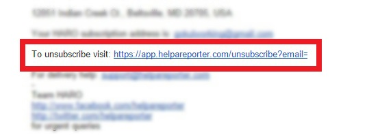 Unsubscribe newsletter