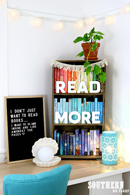 How to Create a Cosy Reading Nook In Your Home - Interior Design Home Ideas for Bookworms - Rainbow Colored Bookshelf and Felt Letter Board Quotes