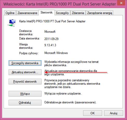 Aktualizacja sterownika dla karty Intel Pro/1000 PT Dual Port