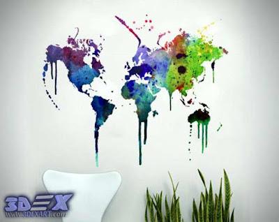 world map wall decor, world map wall art, world map wallpaper and murals