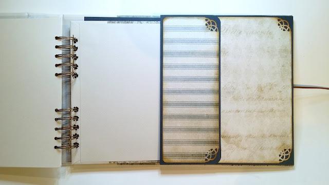 Libro de firmas Blues de Ann Friks realizado con los papeles French Industrial de Tim Holtz. Scrapbook