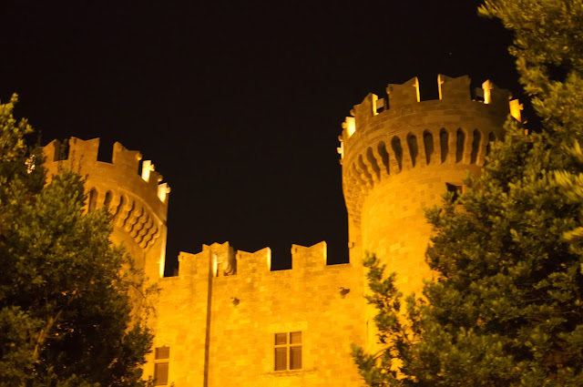 Old medieval castle of the old town in Rhodes, Greece. Impressive also in the night.