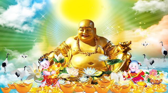 Vector Phật Di Lặc Ngồi Đài SenTải Miễn Phí