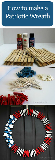 4th of July wreath DIY tutorial clothespin patriotic red white blue holiday memorial day