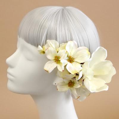マグノリアの髪飾り_ウェディングブーケと花髪飾りairaka