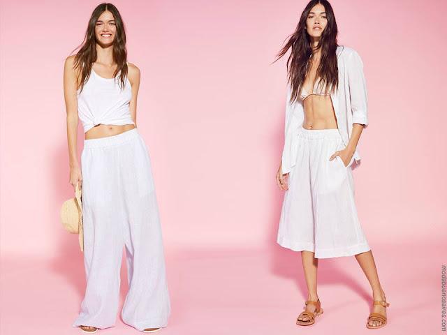 Moda mujer primavera verano 2018. Moda verano 2018 ropa de mujer. Looks total white.