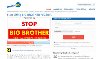 Stop Airing #BBNaija - CiitgenGO Sends Petition To NBC