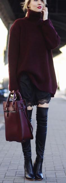 Moda - Botas acima do joelho e camisolões Boots over knee wool sweaters