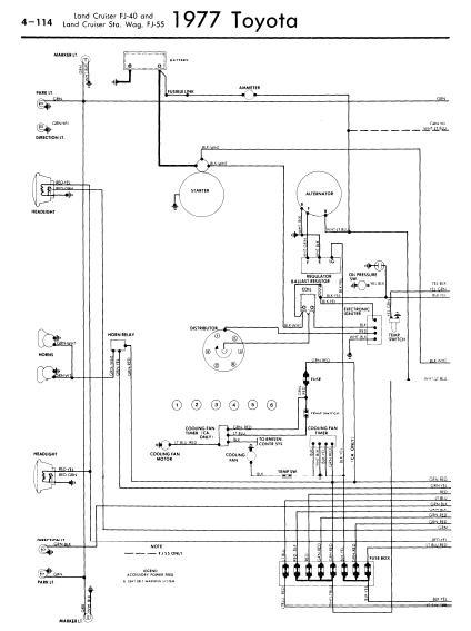 Toyota Land Cruiser FJ40 55 1977 Wiring Diagrams Owner guide manual