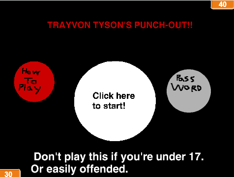 Title screen of Trayvon Tyson's Punch-Out!! game