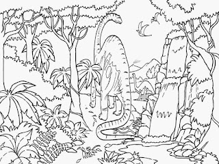 Sauropoda On Forest Coloring Page