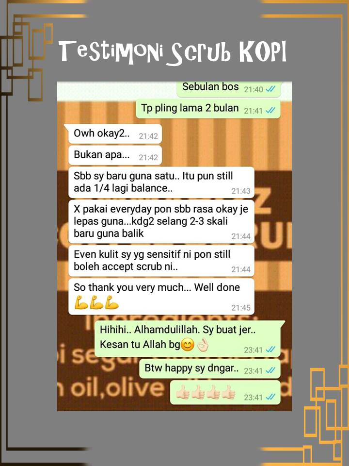 TESTIMONI PENGGUNA SCRUB ORGANIK HOMEMADE BY ZM BEAUTY(PART 2)