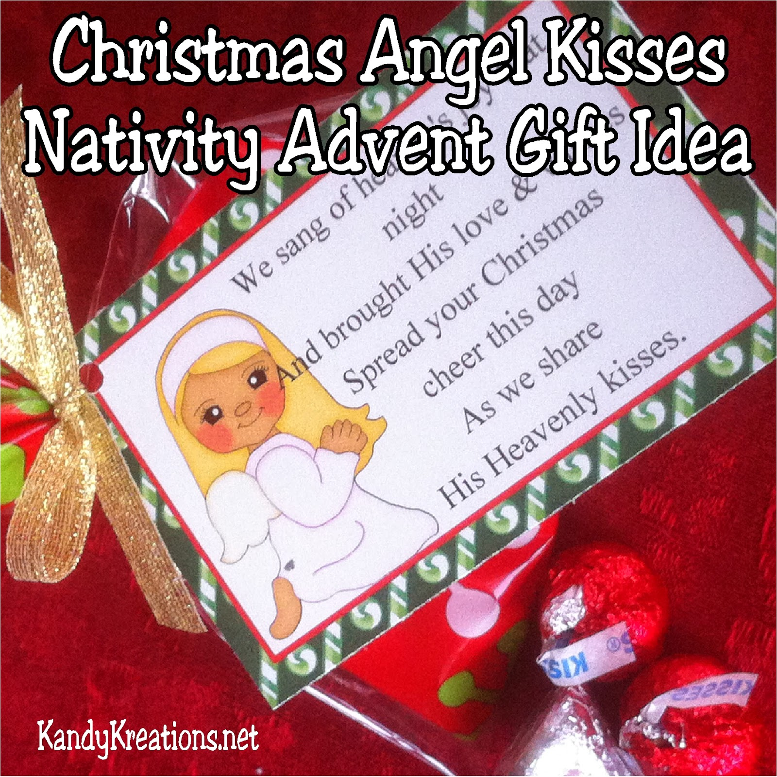 Looking for a great Christmas gift idea for friends and neighbors? This Nativity Advent gift idea has 12 days of sweet treats, poems and gifts to bring Christ into Christmas in a fun way. Day nine has a Christmas angel bringing heavenly kisses from on high. #christmas #advent #christmasangel #countdown #bagtopper #diypartymomblog