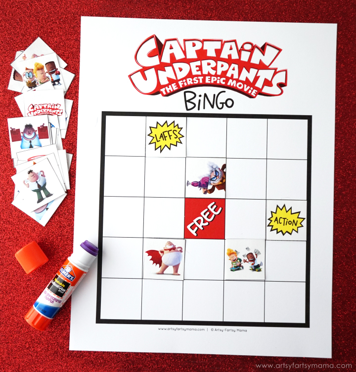 Captain Underpants Movie Night Ideas with Free Printable Captain Underpants Bingo