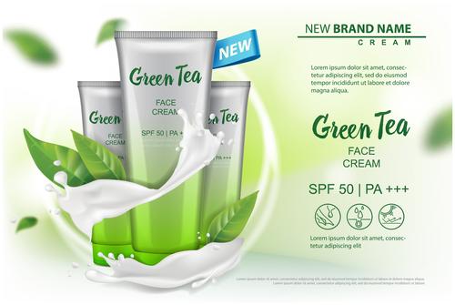 Green tea face cream advertising template free vector