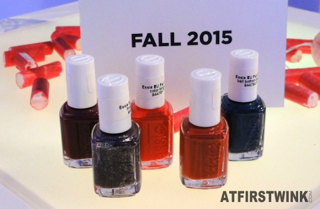 Essie Fall 2015: leggy legend (missing), color binge, with the band, in the lobby, bell-bottom blues, and frock 'n roll