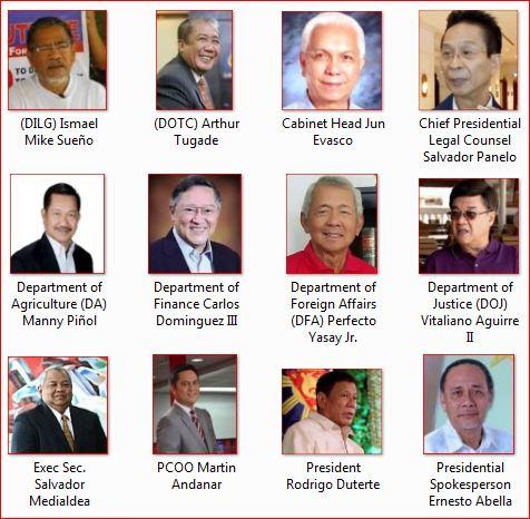 Philippines Cabinet Members 2018   www.stkittsvilla.com