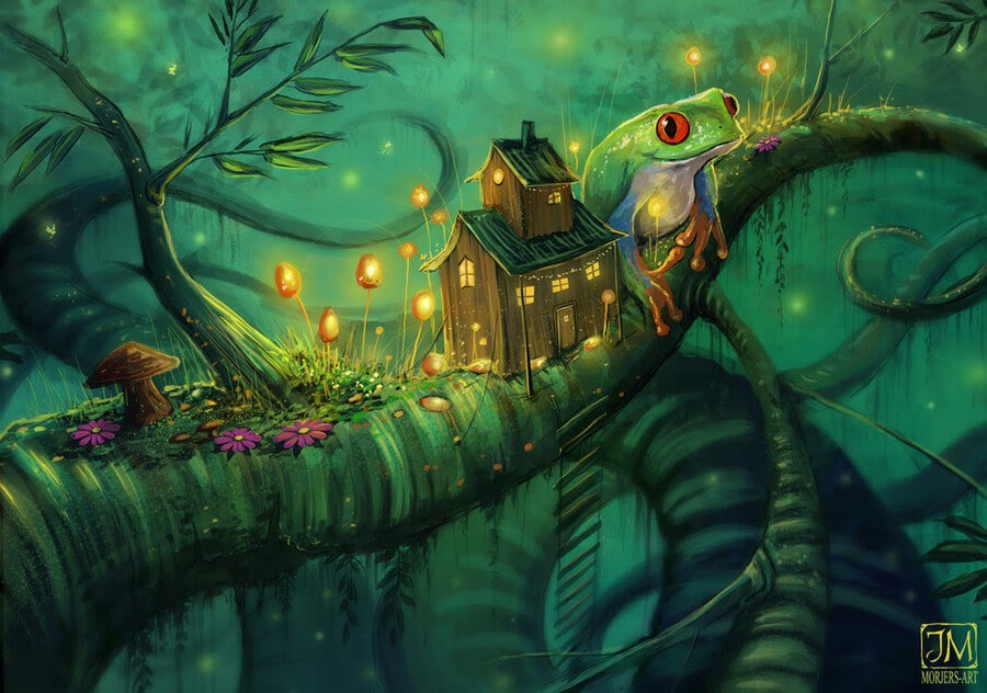 03-The-frog-and-the-enchanted-house-Jeremiah-Morelli-www-designstack-co